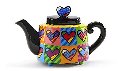 Romero Britto Decorative Mini Teapot Figurine- Multi Hearts Design