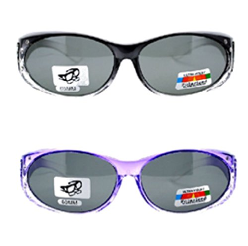2 Pair of Women's Rhinestone Polarized Fit Over Ombre Oval Sunglasses - Wear Over Prescription Glasses (1 Grey, 1 Purple) 2 Carrying Cases - Wrap Around Sunglasses Rx