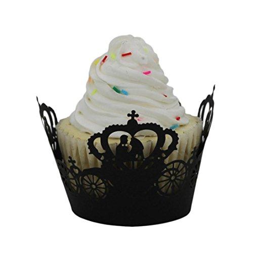 AMA(TM) 50pcs Princess Crown Vine Lace Cut Cupcake Wrapper Liner Muffin Baking Cup Hollow DIY Paper Cake Cup (Black)