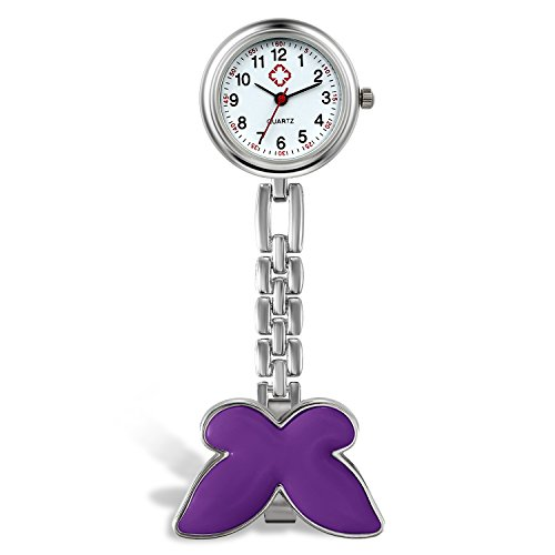Women Girls Doctor Nurse Watch Butterfly Fob Clip On Hanging Nurse Watch (Purple)