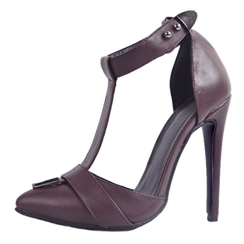 Handmade Ladies CASSOCK Strap T Pointy Summer High Chocolate Shoes Fashion Heel aqw5g