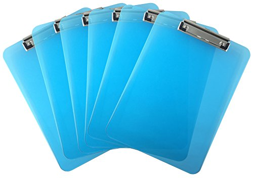Trade Quest Plastic Clipboard Transparent Color Letter Size Low Profile Clip (Pack of 6) (Blue)