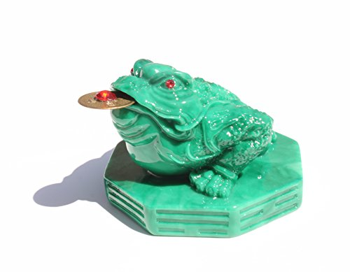 Fortune Green Coin Money Toad/Frog/Chan Chu Sitting on Money - Wealth-Beckoning Toad for Excellent Feng Shui/Luck (Sitting Green Frog)