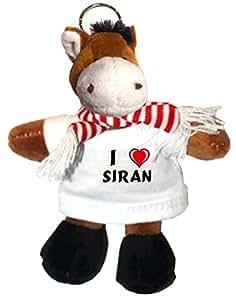 Caballo de peluche (llavero) con Amo Siran en la camiseta (nombre de pila/apellido/apodo)