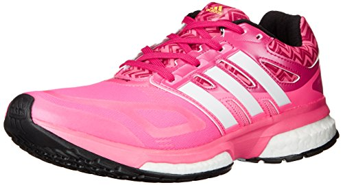 adidas Performance Women's Response Boost Techfit Running Shoe, Solar Pink/Black 1/Neon Orange, 7 M US