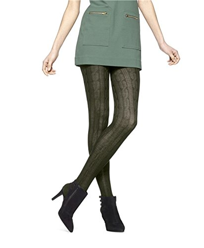 Hue Women's Bold Cable Sweater Tights, Shadow Olive, Small/Medium