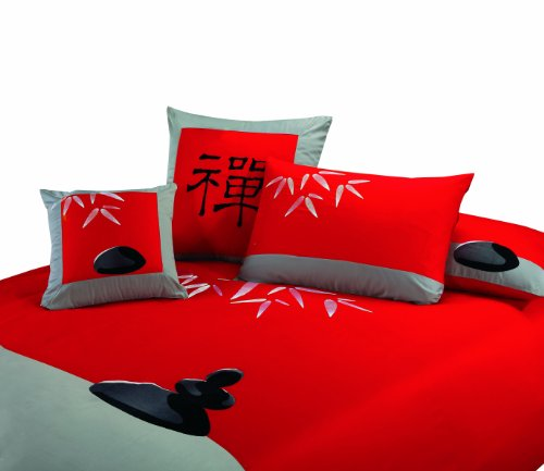 """King size red and silver 3 piece Duvet Cover Set, coverlet comforter 106""""x92"""", 2 Pillows 20""""X36"""". Asian inspired decorative design with bamboo leaf and Zen garden graphic setting"""