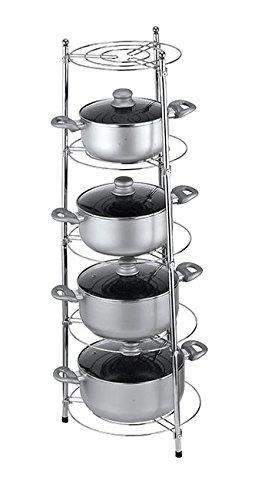 Genial Kitchenista Chrome Five Tier Kitchen Pan Stand Saucepan Pot Rack Storage  Stand Holder