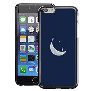Planetar® ( Moon Blue Art Minimalist ) Apple iPhone 6 / 6S (4.7 inches!!!) Fundas Cover Cubre Hard Case Cover
