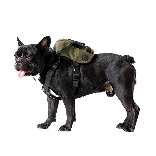 OneTigris Eureka K9 Backpack, Durable Small Medium Dog Pack with Litter Bag Exit for Camping Hiking Daily Walking (Ranger Green, Extra Small)