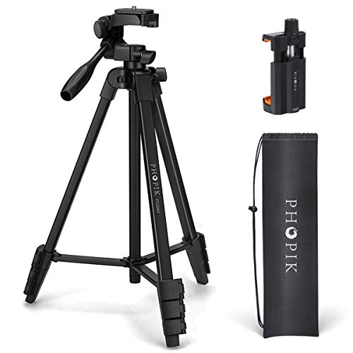 "PHOPIK Lightweight Phone Tripod 55-Inch, Video Tripod with 360 Panorama and 1/4"" Mounting Screw for Mirrorless/Gopro…"