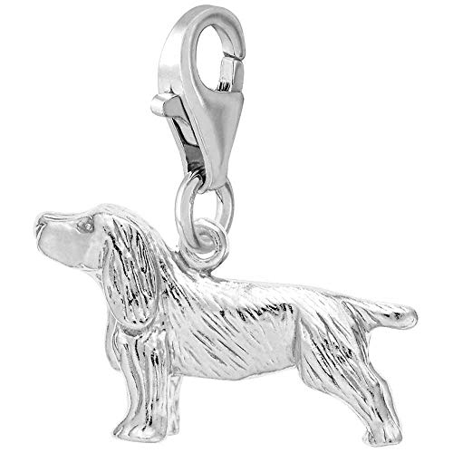 Rembrandt Charms Springer Spaniel Charm with Lobster Clasp, Sterling Silver