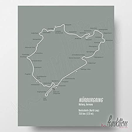 Map Of Uk Race Tracks.Nurburgring Race Circuit Unframed Print Formula 1 Edition F1