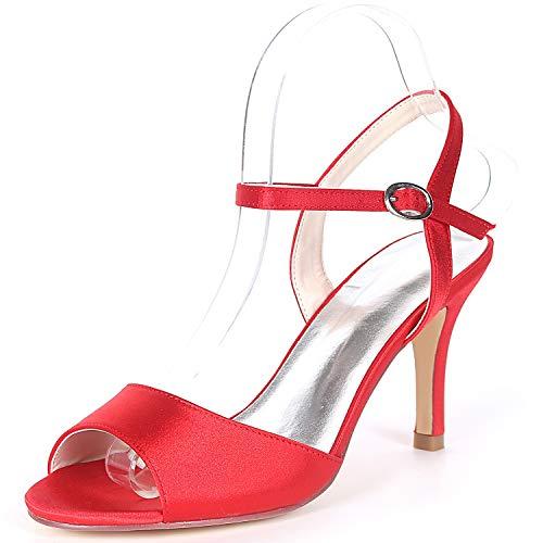 Evening Ivoire Buckle Fy992 Chaussures Femme yc Mariage Talons Satin Party Taille Pour kitten L De Red 5cm 8 Hauts amp; CWZUa5W