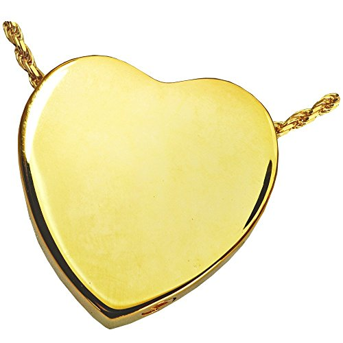 Memorial Gallery 3109gp Peaceful Heart 14K Gold/Sterling Silver Plating Cremation Pet Jewelry by Memorial Gallery