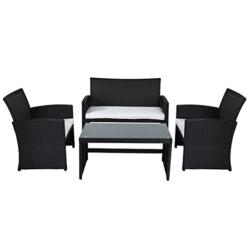 4 PCS Black Patio Wicker Sofa Set Chair Tempered Glass Coffee Table Double Sofa Outdoor Garden Deck Backyard Yard Porches Poolside Cushioned Comfortable Seat Pool Side Furniture
