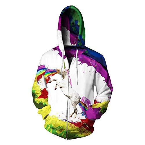Multicolore Cappuccio Donna Casual Sera Print Abito Da Felpa Con Rainbow Mini Digital Cappotto Horse Lungo Yingsssq q8x1AZEPxn