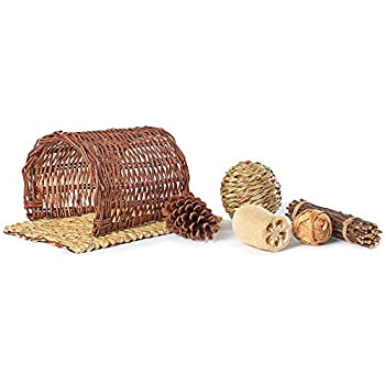 Niteangel Twig Tunnel Small Animal Hideout with Timothy Club Mat, Natural Grass Balls and Chew Toys Kits