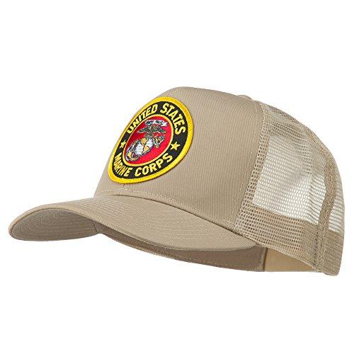 Round US Marine Corps Patched Mesh Cap - Khaki OSFM