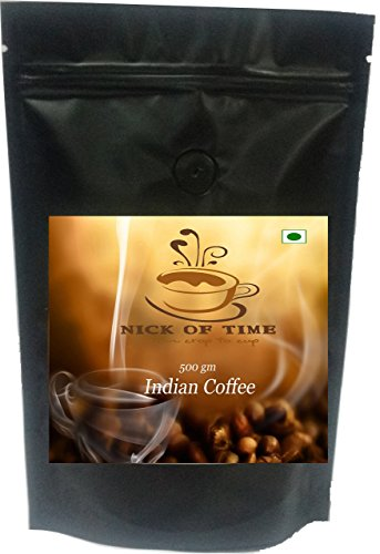 Nick of Time Indian Arabica AA Grade Coffee From South India - Dark Roast Beans (500gm/17.6oz)