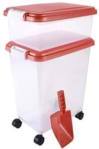 3- Piece Airtight Pet Food Storage Container Combo, Orange