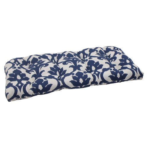 Pillow Perfect Indoor/Outdoor Bosco Wicker Loveseat Cushion, Navy (Bench Breakfast Nook Cushions)