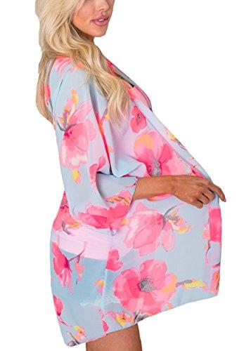 XUANOU Womens Chiffon Butterfly Printed Shawl Kimono Cardigan Top Cover Up Blouse