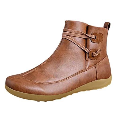 [해외]Women Leather Boots Vintage Flat Waterproof Shoes Round Toe Winter Ankle Boots Casual Driving Loafer Flats / Women Leather Boots Vintage Flat Waterproof Shoes Round Toe Winter Ankle Boots Casual Driving Loafer Flats Brown