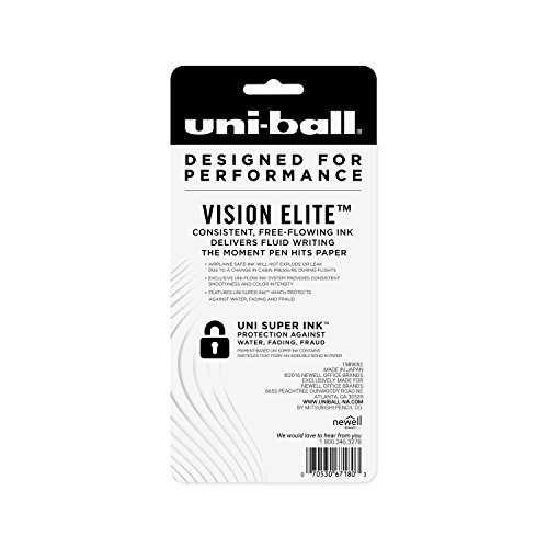 uni-ball Vision Elite Rollerball Pens, Bold Point (0.8mm), Black, 4 Count by Uni-ball (Image #7)