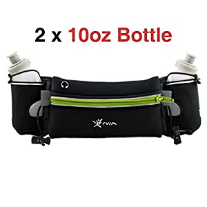 Hydration Running Belt, Neoprene Waterproof Running Gear Belt Fitness Belt - Fits iPhone 6 Plus - with 2 BPA Free Water Bottles
