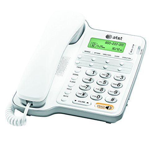 AT&T CL2909 Corded Phone with Speakerphone and Caller ID/Call Waiting, White (Wall Mounted Landline Phones With Caller Id)