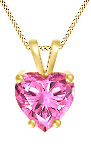 (AFFY Mothers Day Jewelry Gifts Heart Shape Simulated Pink Tourmaline Solitaire Pendant Necklace in 14k Yellow Gold (5 cttw))