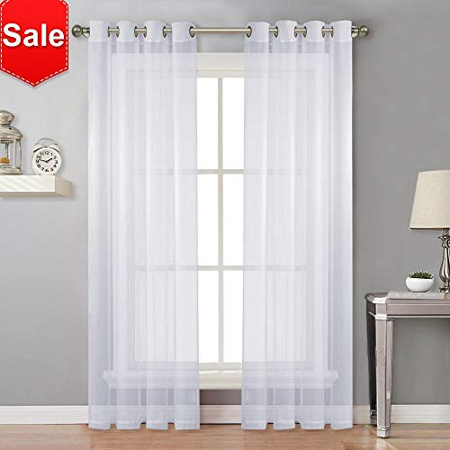 NICETOWN Sheer Curtain Panels for Porch - Window Treatment Silver Grommet Water Repellent Indoor Outdoor Sheer Voile Drapes with Rope Tiebacks (Set of 2 Panels, 54 by 84 Inch, White)