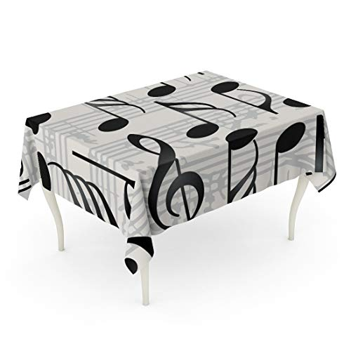 Semtomn Rectangle Tablecloth Note Collection of Music Symbols Notation Key Sign Clef 60 x 84 Inch Home Decorative Waterproof Oil-Proof Printed Table Cloth