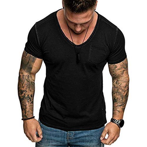 Mote Mens Clothes, MmNote Premium Self-Cultivation Pocket Retro Breathable Round Neck Short Sleeve ()