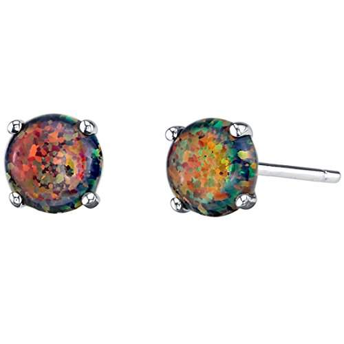 14K White Gold Round Cut Created Black Opal Stud Earrings