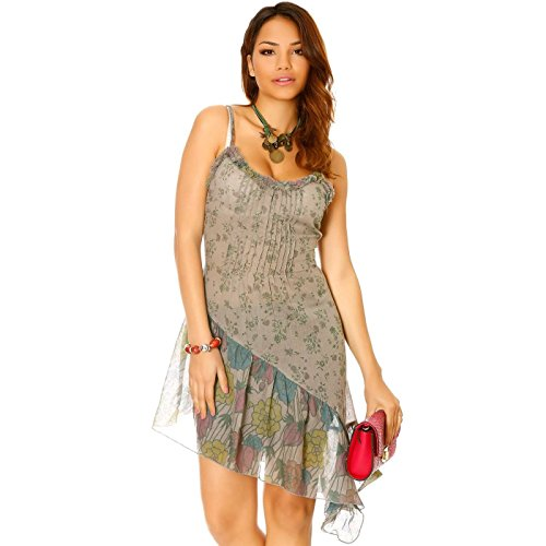 Miss Wear Line - Robe asymétrique anthracite à bretelles motif fleurs
