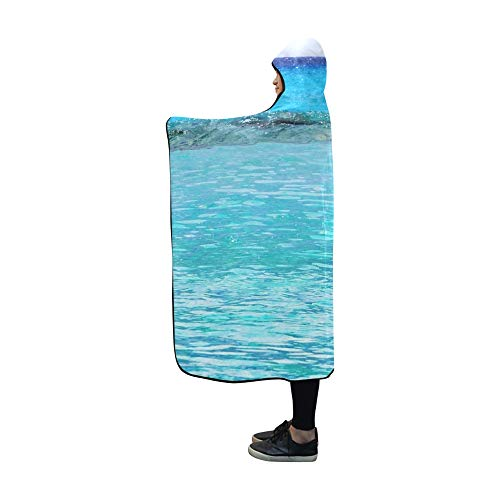 - YUMOING Hooded Blanket Dolphin Jumping Caribbean Sea Mexico Blanket 60x50 Inch Comfotable Hooded Throw Wrap