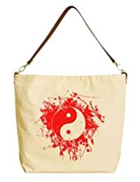 Vietsbay Feng Sui Yin Yang Beige Print Canvas Tote Bag with Leather Strap WAS_29