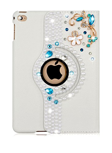 Apple iPad Mini 3/2/1 360 Degree Rotating Handmade DIY 3D Bling Glitter Rhinestones Smart Case Cover Flip – Folio Full Body Protection Smart Leather C…