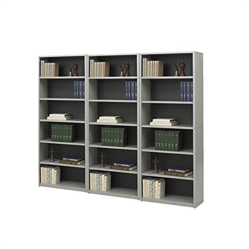 Safco ValueMate Standard 6 Shelf Economy Steel Wall Bookcase in Gray - Safco Steel Bookcase