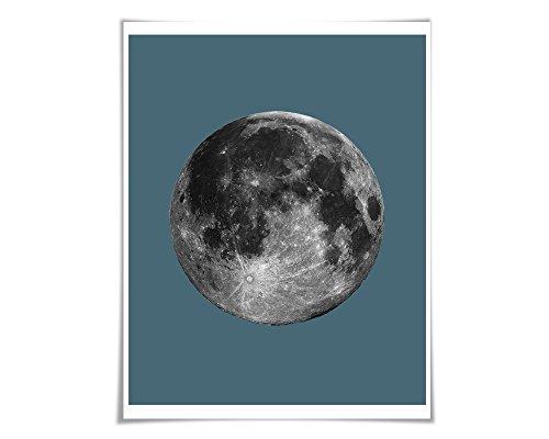 Full Moon Poster La Luna Art Print. 60 Colours/5 Sizes. Moon Illustration Astronomy Space Poster Science Celestial Apollo 18 Poster