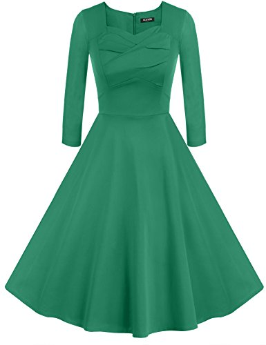 Cocktail Vintage 50s Evening ACEVOG Long Women's Dress Floral Green2 Style Party Sleeve Hepburn q1Ifwx
