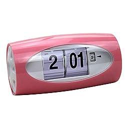 Flameer Auto Flip Clock Table Alarm Clock Kids Retro Classic Watch Home Bedroom Decor Desk Clock Digital Table Clock - Red