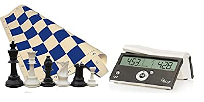 """Tournament Chess Set - 34 Chess Pieces - Blue Chess Board (20"""" x 20"""" Vinyl Rollup) - DGT Black Easy Chess Timer Game Clock - ChessCentral's """"Play Chess - Have Fun!"""" E-Book"""