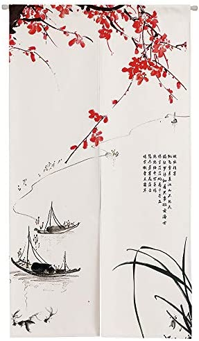 Ofat Home Chinese Traditional Painting Doorway Curtain Ink Boat Drawing Door Curtain for Home Decor 33.5 x 59
