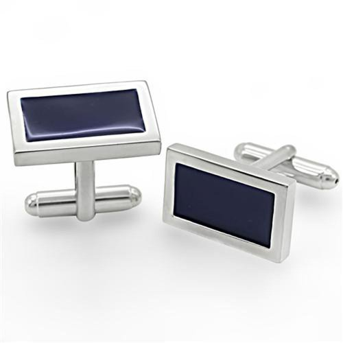 - Rhodium Plated with Black Enamel Rectangle Cufflinks