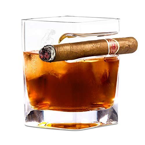 Whiskey Cigar Glass, HLT Whiskey Glass with Gigar Holder for Cigar Cigarette Lovers (HLT-XJB-1) by HLT