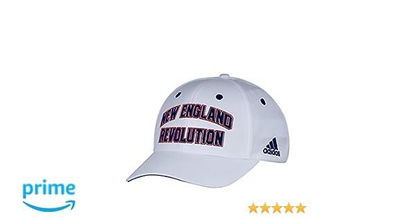 db99881bf5e91 adidas MLS New England Revolution Men's White Wordmark Structured  Adjustable Hat, One Size, White