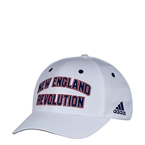 adidas MLS New England Revolution Men's White Wordmark Structured Adjustable Hat, One Size, White
